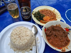 Liver, beans, okra, spinach, rice and beer.