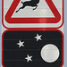 Warning sign for Antelopes at night, South Africa