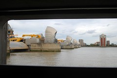 A window to the Thames Barrier (zawtowers) Tags: jubilee greenway section 6 six saturday 8th september 2018 cloudy dry woolwichfoottunneltogreenwich amble stroll walking walk exploring london river thames path following urban exploration barrier protection flooding landmark iconic window frame view atmospheric moody