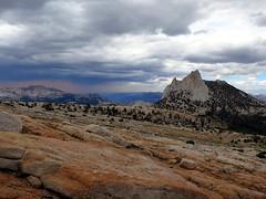Cathedral Storm (nesdnumaj) Tags: yosemite yosemitenationalpark nationalpark granite storm sky rain mountains landscape cathedralpeak trees clouds climbing tuolomne alpine