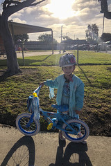 Luna Day 1785 (evaxebra) Tags: luna bike bicycle helmet elsa jacket dress school yard schoolyard