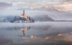 Lake Bled (Dreamy Pixel) Tags: bled ngc slovenia winter snow snowy reflection clouds sunrise morning island church lake