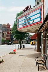 Ohio Theatre (Travis Estell) Tags: 35mmfilm canonae1 ektar100 indiana indianaonfilm joannespiller kodakektar100 madison mainstreet ohiotheatre thedarkroomlab bench marquee theatremarquee unitedstates us