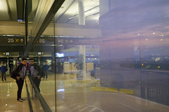 waiting for flights at sunrise (susan catherine) Tags: chile santiago airport reflection sunrise indooroutdoor vacation holiday