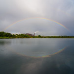 Rainbow reflecting in Ashby Ville pond thumbnail