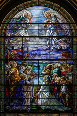 Every Perfect Gift is From Above (Lawrence OP) Tags: stainedglass oldstpauls baltimore tiffany window saints