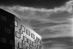 Clear vision (iamunclefester) Tags: münchen munich monochrome blackandwhite clouds sky window sunset sun shadow clear vision lines reflection