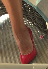 MyLeggyLady (MyLeggyLady) Tags: toe dangling cfm minidress hotwife milf sexy secretary teasing pumps stiletto leather red cleavage feet legs heels