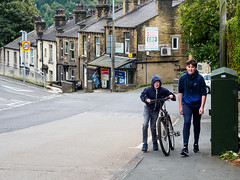 Sowerby Bridge 010 (Peter.Bartlett) Tags: eyecontact unitedkingdom people streetphotography olympuspenf bike boy litter peterbartlett urban candid uk m43 microfourthirds cycle westyorkshire walking sign urbanarte rubbish lunaphoto sowerbybridge england gb