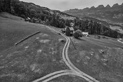 Switzerland – View from Kleinberg (Thomas Mülchi) Tags: flumskleinberg cantonofstgallen switzerland 2018 gondolacableway gondola cableway gondelbahn saxli monochrome bw churfirstenmountainrange churfirsten mountain mountains road flumserbergsaxli ch