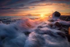 Synthesis (lonekheir) Tags: seascape sun waves rocks seastack archipelago