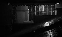 Falling rain in the night