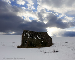 Clouds and Barn, Swan Valley, ID (4 Corners Photo) Tags: 4cornersphoto abandoned agriculture architecture barn bonnevillecounty building clouds cold color crepuscularrays farm idaho northamerica outbuilding rural scenery sky snow spring sun swanvalley unitedstates weather