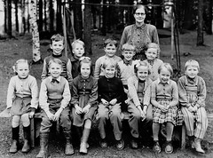 Class photo (theirhistory) Tags: boy children child kid girl school group class pupils students form teacher shirt skirt trees jumper shorts shoes wellies rubberboots