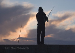 2315bcol12x8 Last Cast (Len Miles) Tags: fishing sunset howth fishingrod angler