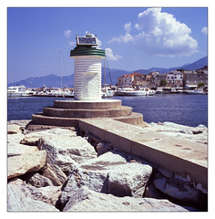 Harbour entrance (Wilco1954) Tags: corse france corsica scanned fujivelvia film saintflorent hasselbad