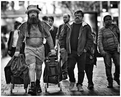 """Be eccentric now. Don't wait for old age to wear purple."" - Regina Brett (gro57074@bigpond.net.au) Tags: monotone monochrome mono blackwhite bw candideyecontact pittstreetmall cbd sydney people streetphotography street 105mmf14 artseries sigma d850 nikon hat beardedman beard eccentric shopping man"