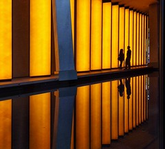 Facing each other twice (vincentag) Tags: paris france modern architecture louis vuitton fondation reflection shadows people yellow
