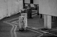 Zig zag....  (UEA 3 of 3).  (Explore) (+Pattycake+) Tags: lines statue universityeastanglia zigzag eastanglia paving broad lumixdmcg1k abstract architecture 9sept18 bw uea yellowlines walk
