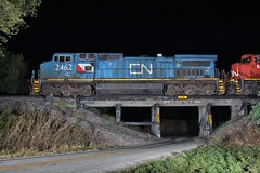 The narrow way (gsebenste) Tags: cn canadiannational illinoiscentral bluepaint pooleroad trestle trains night m338 irene illinois
