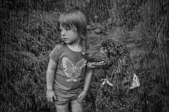 Child and Dog B&W (jta1950) Tags: bw blackandwhite noireblanc kid child enfant children girl fille little dog animal poodle caniche chien