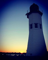 Sunset at Scituate Lighthouse (moniquef123) Tags: sunset sky lighthouse coast seaside coastal weatherphotography nature landscape blue sun massachusetts
