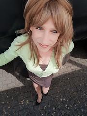 wednesday fun ! (Sometimes Emma) Tags: tgirl transvestite tranny crossdresser wig makeup cardigen dress heels fun fem outdoor