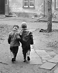 Ready for play (theirhistory) Tags: boy children kid trousers wellies rubberboots jacket hat