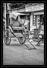 Kolkata's Hand-Pulled Rickshaw (Ramalakshmi Rajan) Tags: kolkata india lifeinindia nikon nikond5000 nikkor18140mm bw blackwhite blackandwhite streetphotography