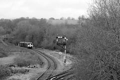 Tondu 72002bw (kgvuk) Tags: tondu station railwaystation railway tondustation maestegbranch train dmu dieselmultipleunit class1502 150258 arrivatrainswales