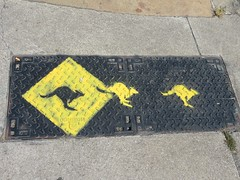 IMG_3974 (emilyD98) Tags: street art saint nazaire insolite mur wall graff graffiti tag urban exploration explore rue sol plaque kangourou jaune panneau roadsign