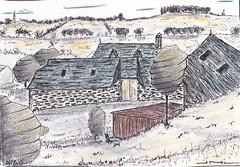 Village de Vines Aveyron (J-M.I) Tags: dessin illustration graphisme aubrac artiste exposition orlhaguet eglise aquarelle paysage