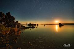 Moonrise over Mono Lake (Visualvalhalla) Tags: milkyway monolake tufa yosemite longexposure night leevining california unitedstates us moonrise reflections orange stars mars martian