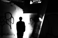 In The Corner (LeeDylanLeeDyl) Tags: spooky scary skeletons horror black white bw d3300 50mm outline shadow run down rundown rusty graffiti