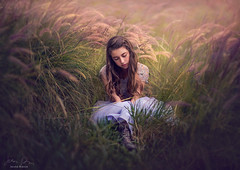 Quiet Place ({jessica drossin}) Tags: jessicadrossin portrait woman teen girl grass tall dress blue green pink long hair lace wwwjessicadrossincom light shadow