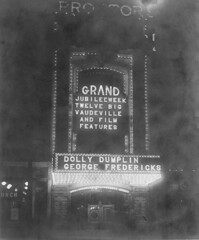 Proctors Theatre (jericl cat) Tags: 1930s bulb sign signage proctors theatre grand jubilee week vaudeville dolly dumplin george fredericks arch entrance marquee theater night poster postercase