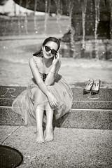 Fountain (oshcan) Tags: monochromia bw model philadelphia fountain summer fashion woman girl barefoot barefeet toes nikon d4s 85mm14