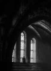 Silent moment (www.streetphotography-berlin.com) Tags: church windows woman alone cathedral light silent street streetphotography streetlife fineart monochrome blackandwhite blackwhite moody