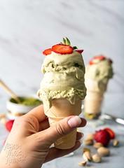 Pistachio Matcha Ice Cream (Yack_Attack) Tags: vegan vegetarian food recipe icecream easy soyfree dairyfree eggfree pistachio matcha dessert nochurn maker coconutmilk strawberries jackiesobon veganyackattack blog foodphotographer stylist d750 macro