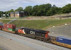 CN 2221 (Michael Berry Railfan) Tags: cn2221 cn canadiannational cn120 train freighttrain intermodaltrain cofc stacktrain doublestacks montreal montrealsub quebec ge generalelectric gevo es44dc