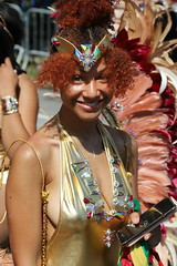 Goldie Red (Chuck Diesel) Tags: westindiandayparade2018 brooklyn easternparkway nyc newyorkcity caribbeancarnival costume masquerader portrait gold greeneyes highyellow young cute teen redhair