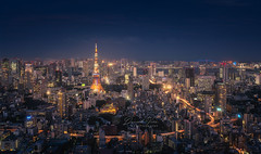 TOKYO cityscape at dusk with Tokyo tower (Daniel Viñe fotografia) Tags: tokyo tower panorama skyline japan night cityscape city background sky view blue business white building dark asia landmark japanese illuminated skyscraper district metropolis dusk color window