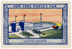 Maritime Building Stamp, New York World's Fair, 1939 (Alan Mays) Tags: ephemera cinderellastamps posterstamps stamps souvenirstamps souvenirs expositionstamps philately advertising advertisements ads paper printed maritimebuilding maritime buildings newyorkworldsfair 1939worldsfair nywf nycwf worldsfairs fairs expositions expos artdeco illustrations banners scrolls borders blue yellow green newyorkcity ny newyork 1930s 1939 antique old vintage typefaces type typography fonts