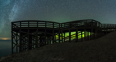 Under the Boardwalk (Aaron Springer) Tags: michigan northernmichigan lakemichigan thegreatlakes sleepingbeardunesnationallakeshore piercestockingscenicdrive auroraborealis northernlights auroras stars water observationdeck scenicoverlook silhouette nightsky outdoor panoramiclandscape