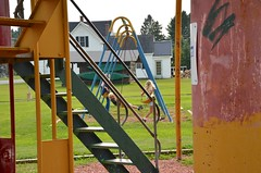 On The Swings At The Champlain Street Park Playground (Joe Shlabotnik) Tags: sue 2018 violet august2018 aroostook everett vanburen maine playground proudparents afsdxvrzoomnikkor18105mmf3556ged