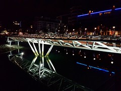 A pedestrian bridge at night (walneylad) Tags: vancouver britishcolumbia canada falsecreek olympicvillage pedestrianbridge bridge evening dark night lights water reflection september summer view scenery condos span city urban colours
