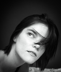brittany close up (enterlinemedia) Tags: brittany blackandwhite edit crop closeup dark hair studio hairinface pretty girl woman female model