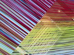 Fabric Art Installation (close up), Toronto, Ontario (duaneschermerhorn) Tags: art artwork installation yarn color colorful red yellow blue purple modernart contemporaryart artist
