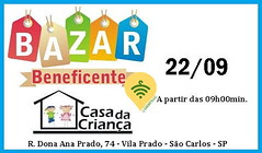 ⚠ SÃO CARLOS - SP (BBT) Organizadores: Casa da Criança - São Carlos Data: 22/09 Horário: 09hs ás 16hs Local: Casa da Criança, Rua Dona Ana Prado, 74, Vila Prado, São Carlos  - SP CEP: 13574-360 Preço Inicial: $1,00 Provador: NÃO INFORMADO Renda arrecada: (garimpasso) Tags: instagramapp square squareformat iphoneography uploaded:by=instagram