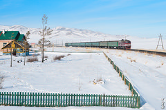 Near Nogoon tolgoi station... (N.Batkhurel) Tags: season winter railway railwaystation sky snow trains trainspotting train transport travel passengertrain locomotive mongolia monrailpic mountian m62um ubtz ngc nikon nikondf 24120mm nikkor